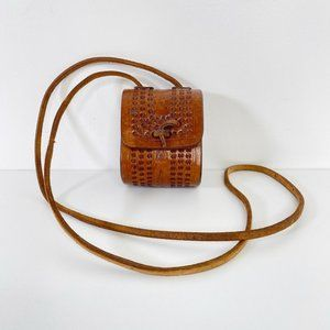 Tooled Leather Mini Purse with Crossbody Strap